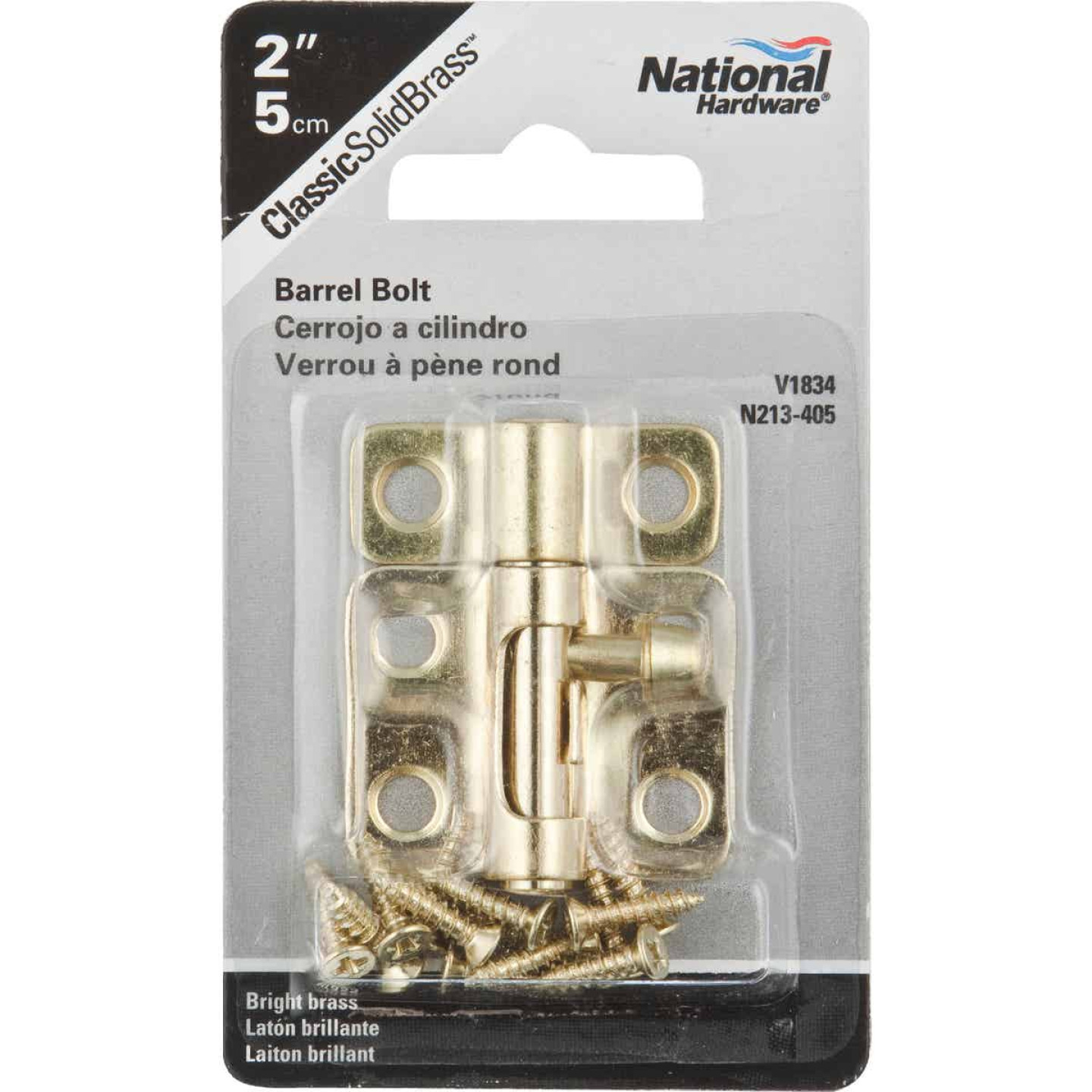 National 2 In. Solid Brass Door Barrel Bolt Image 2