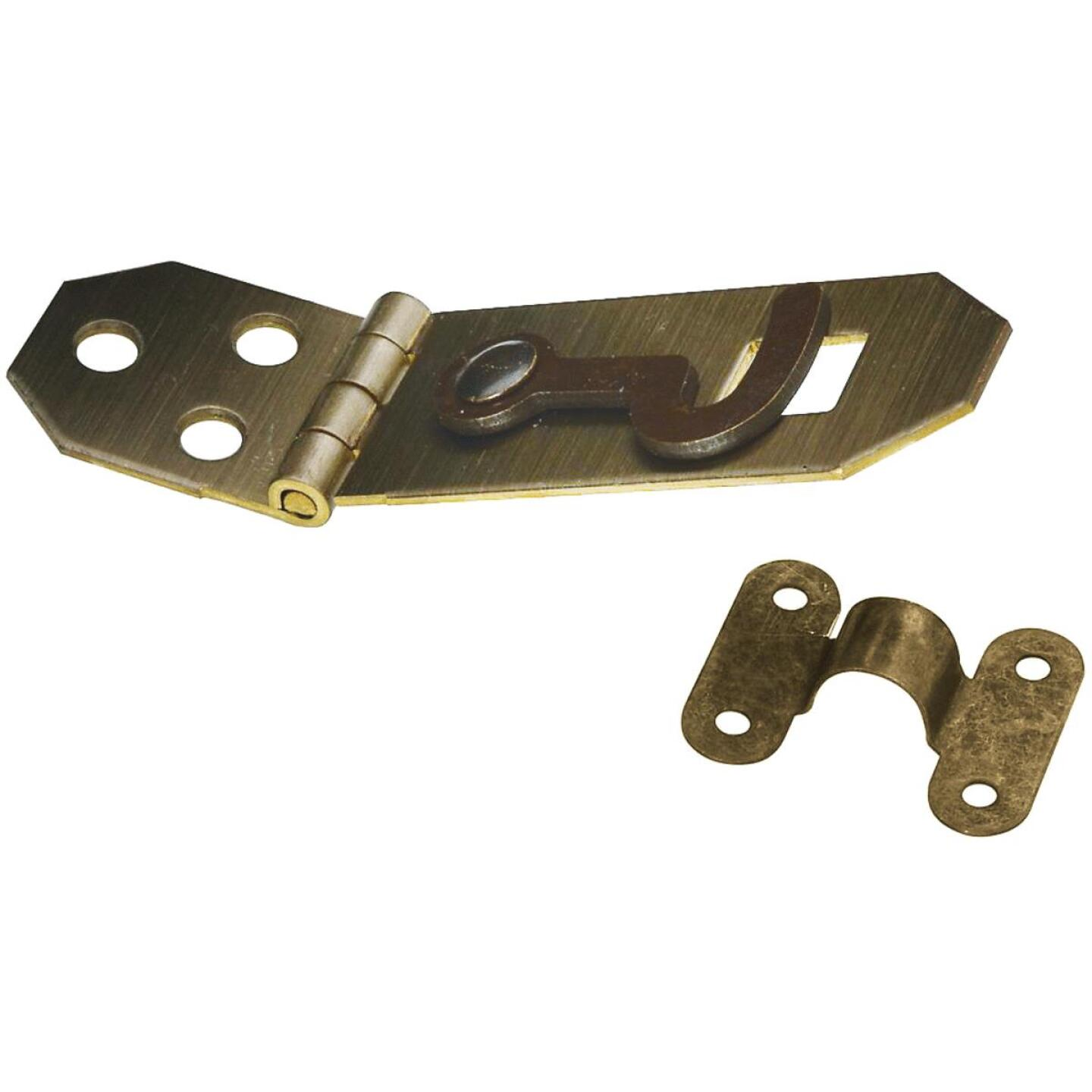 National 3/4 In. x 2-3/4 In. Antique Brass Decorative Hasp With Hook Image 1