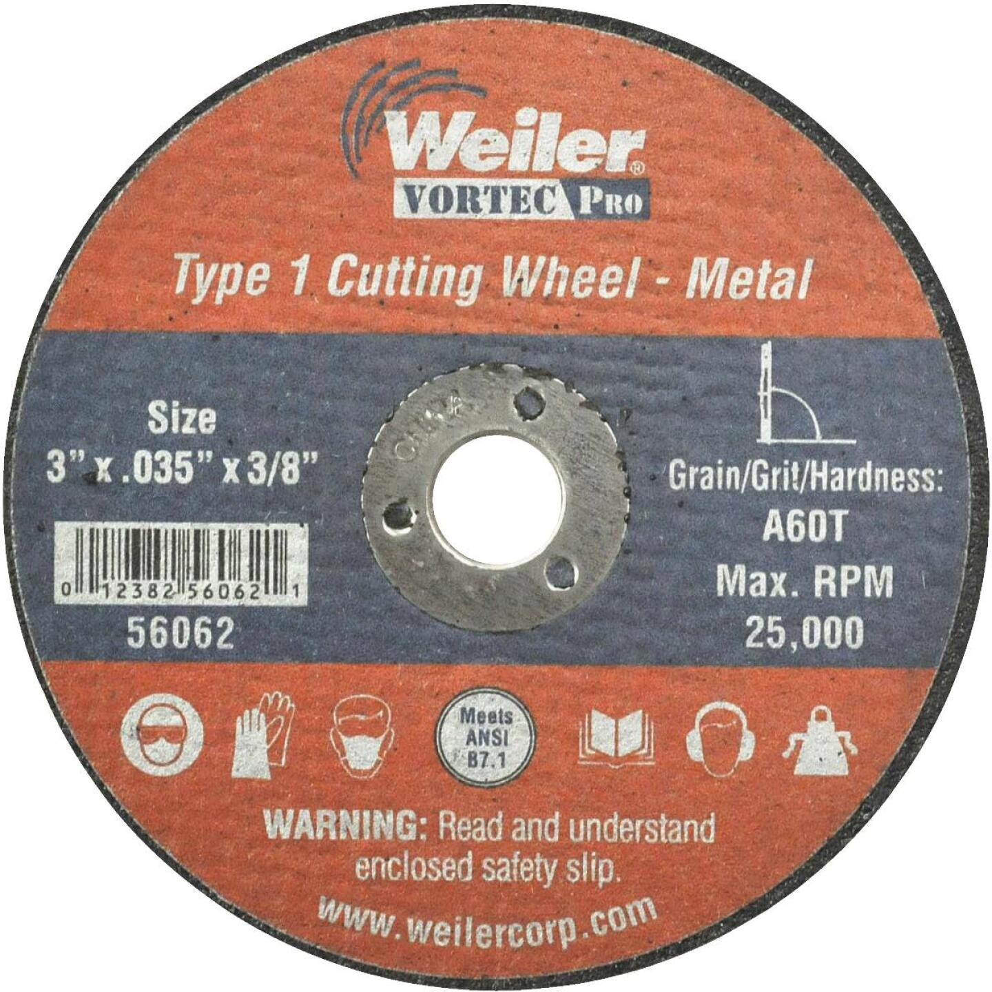 Weiler Vortec 3 In. x 1/32 In. Type 1 Cut-Off Wheel Image 1